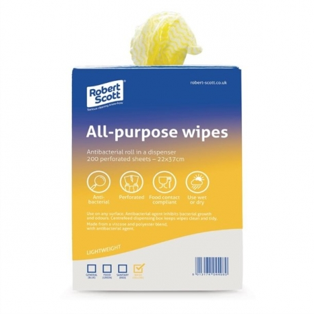 ABBEY ANTI BAC CLOTH ALL PURPOSE (ROLL 200) - YELLOW